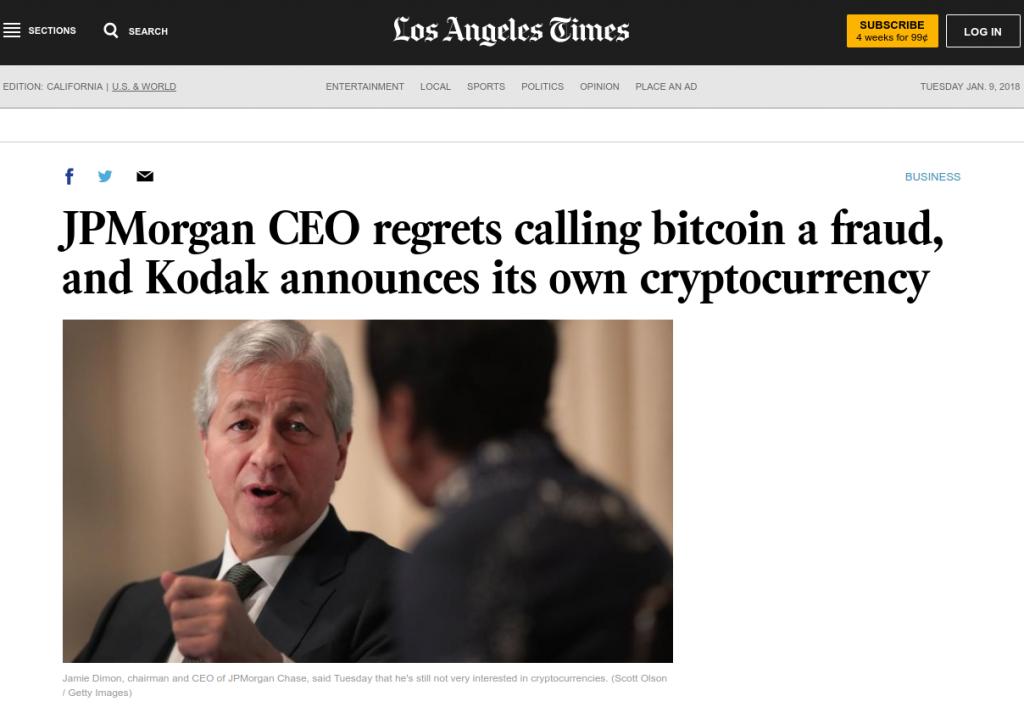 JPMorgan CEO James Dimon lituje, že označil bitcoin za podvod