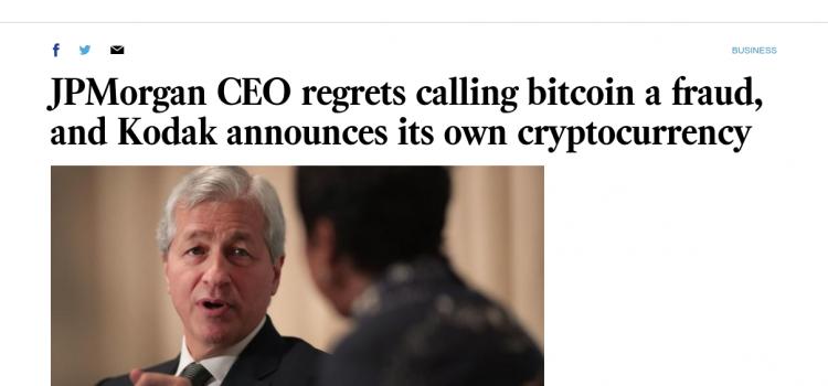 Výkonný ředitel JPMorgan James Dimon lituje, že označil bitcoin za podvod