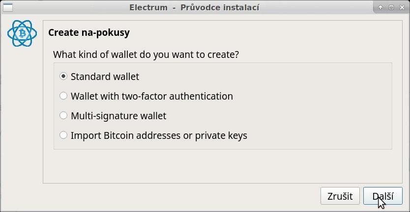 electrum - pokračujete standard wallet