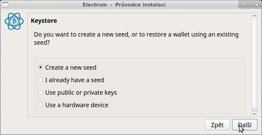 electrum - pokračujete vytvořením seedu (semínka), při obnovování volíte ale druhou možnost
