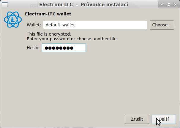 V mém případě je asociovaným programem Electrum-ltc, zadáme heslo k peněžence