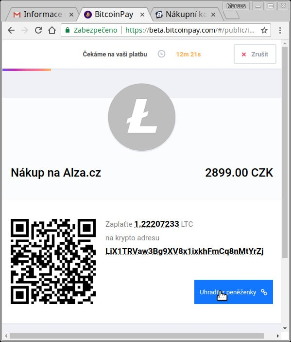Bitcoinpay - platba LTC na alza.cz