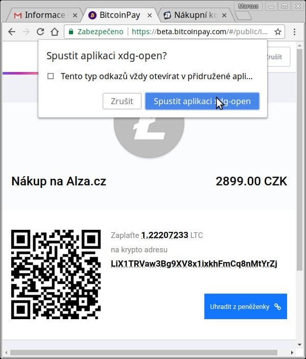 Bitcoinpay - platba LTC na alza.cz, na linuxu je detekován typ odkazu pro litecoinové adresy a formou xdg-open je možné spustit asociovaný program