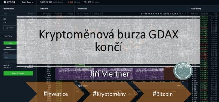 Kryptoměnová burza GDAX končí